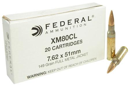 Federal 7.62x51 Xm80cl 149gr FMJ 20cartridges