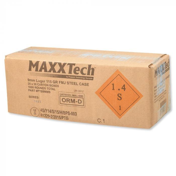 Maxxtech 9mm Luger 115gr FMJ Steel