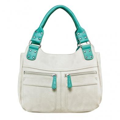 Hobo Bag - Off White W/seafoamtrim