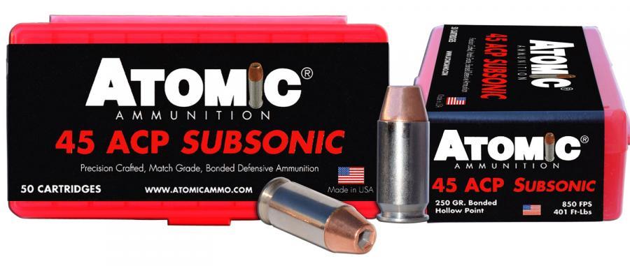 Atomic 00439 45acp 250 Subsonic 50/10