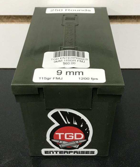250rd 9MM 115gr FMJ 1200fps