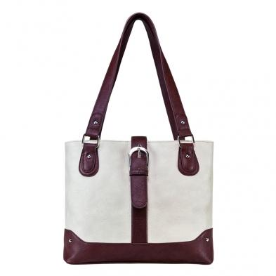 Shoulder Bag - Off White W/brown