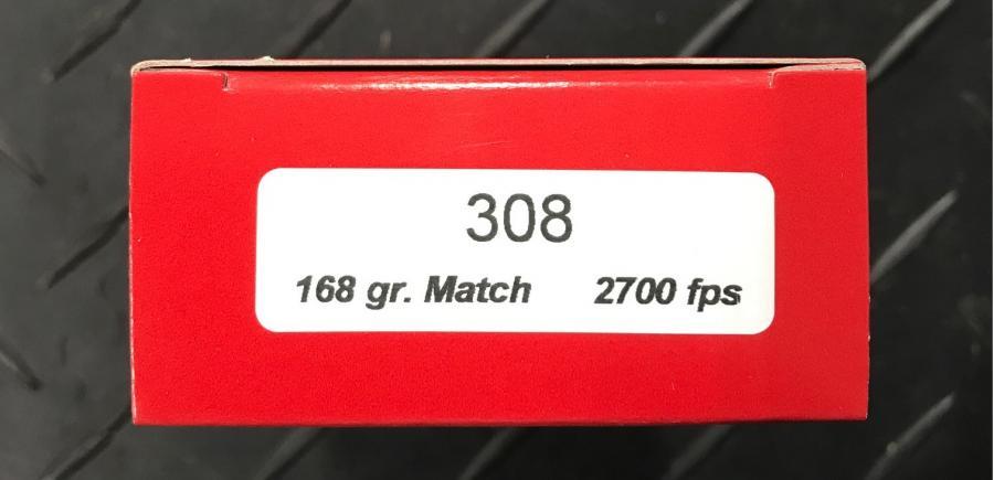 20rd .308 168gr. Match 2700fps