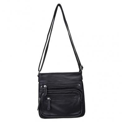 Small Messenger Crossbody Bag- Black