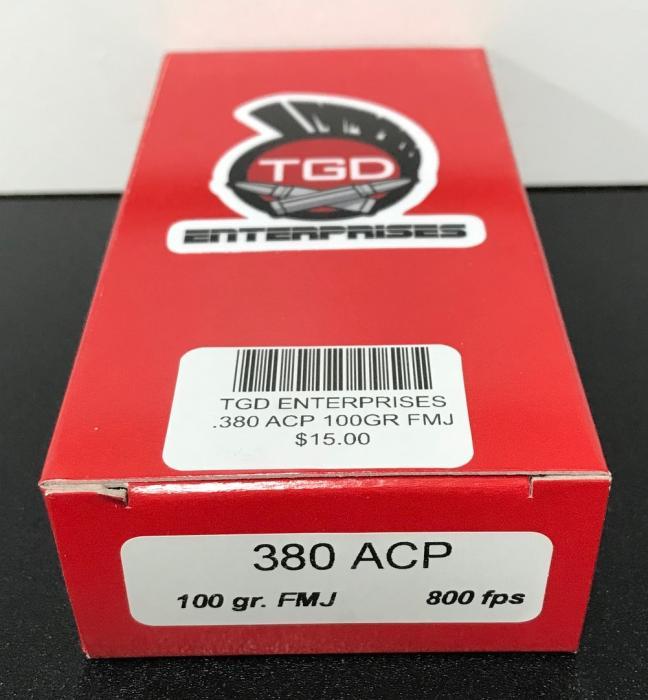 50rd .380 100gr FMJ 800fps