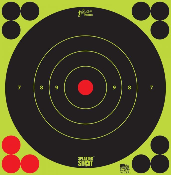 """Proshot 6b-green-12pk 6"""" Splattershot Bullseye TRG"""