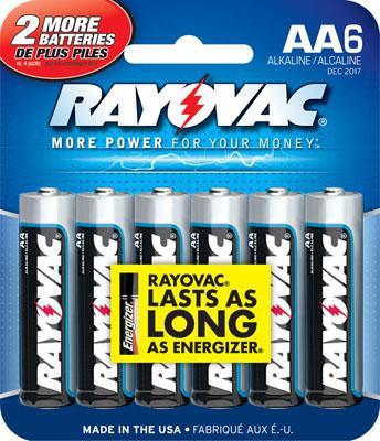 Rayovac 815-6e Alkaline AA Batteries 6