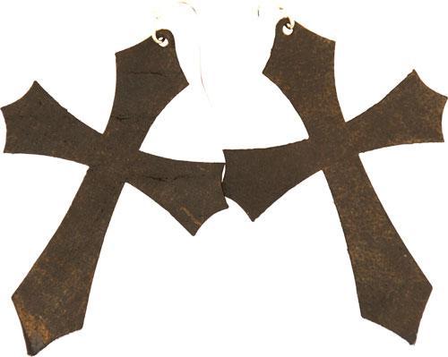 Vc Leather Cross Earrings