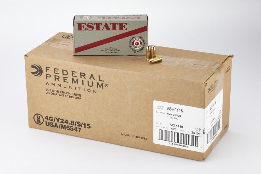 Estate 9mm 115gr FMJ 500 Rounds