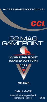 CCI 22wmr 40gr Lead Gamepoint 50bx/40cs